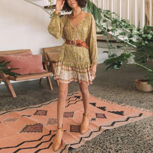 V Neck Long Sleeve Printed Colour Ruffled Belted Loose Dress