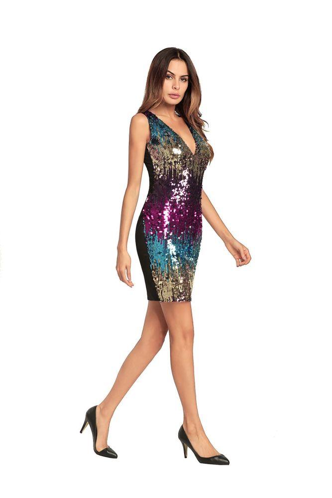 sexy Vneck Evening Dress prom dresses Formal Party short dress elegant sequins women's Ever Pretty evening gowns