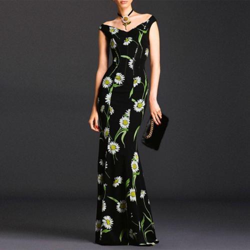 Fashion V-neck flower print short sleeve slim evening dress
