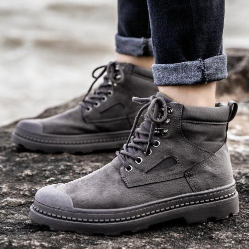 Men Vintage Round Toe Low Heel Solid Color Casual Boots