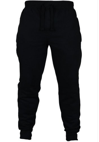 Men's solid color rope brushed casual pants fitness pants