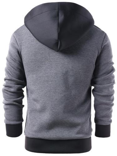 Men's Long Sleeved Zip up Faux Twinset Hoodie