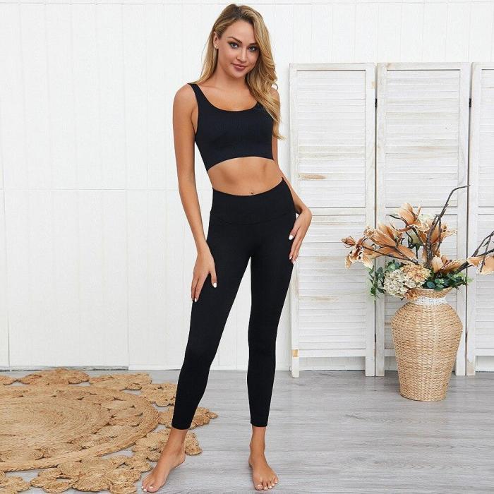 2020 ladies summer leggings sportswear 2 piece suit seamless  fitness clothes yoga suit tracksuit women's sports gym sexy suit