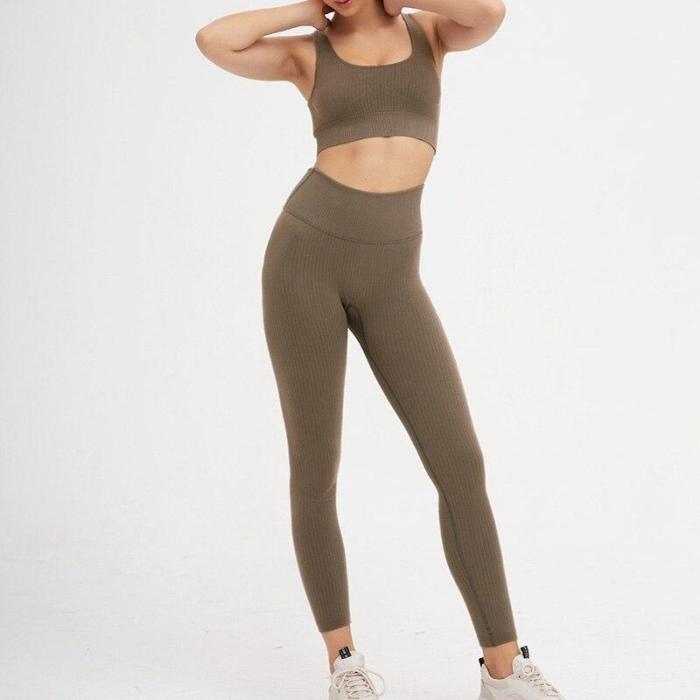 2PCS/Set Seamless Fitness Women Yoga Suit High Stretchy Workout Sport Set Padded Sports Bra High Waist Sports Legging Gym