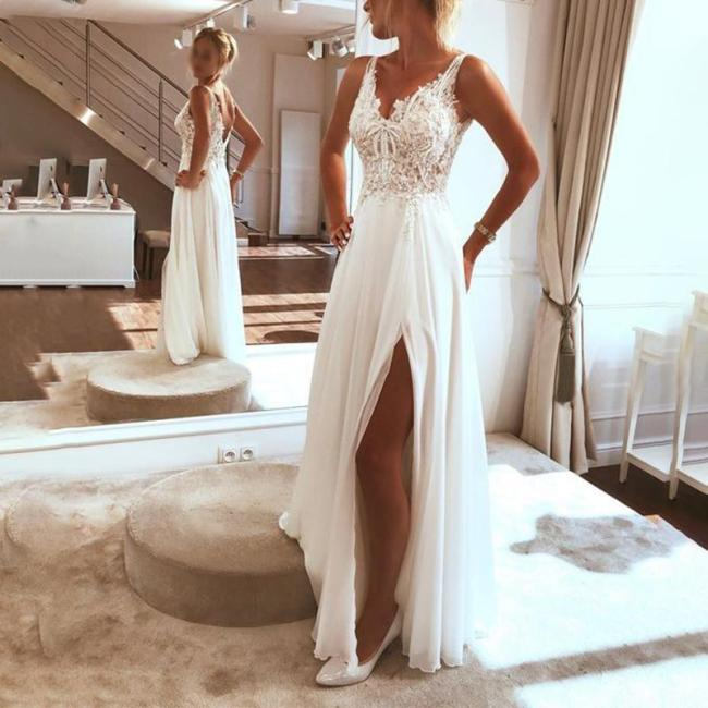 Fashion Sexy Sleeveless V-Neck Appliqu¨¦ Split Dress