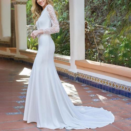 Sexy Fashion Round Neck Lace Long Sleeve Fishtail Evening Dress