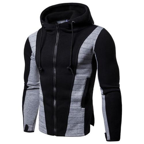 Men's Slim Color Matching Hoodie Jacket