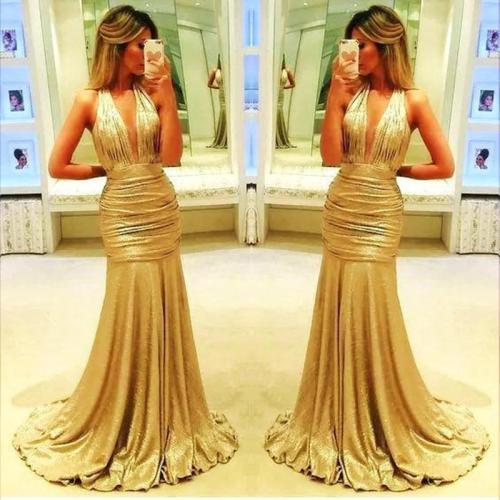 Fashion Sexy Deep V Fishtail Evening Dress