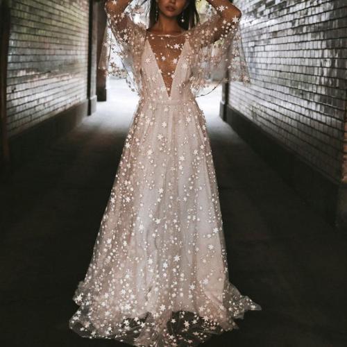 Elegant white star perspective halter dress