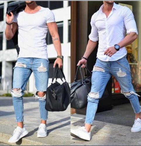 Men's Skinny Jeans Light-Colored Hole Pants