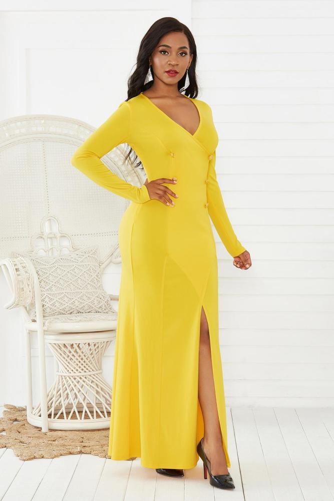 Women Vintage A Line High Split Long Dress Yellow Buttons V Neck Long Sleeve Elegant Night Party Maxi Dress Package Hip Vestiods
