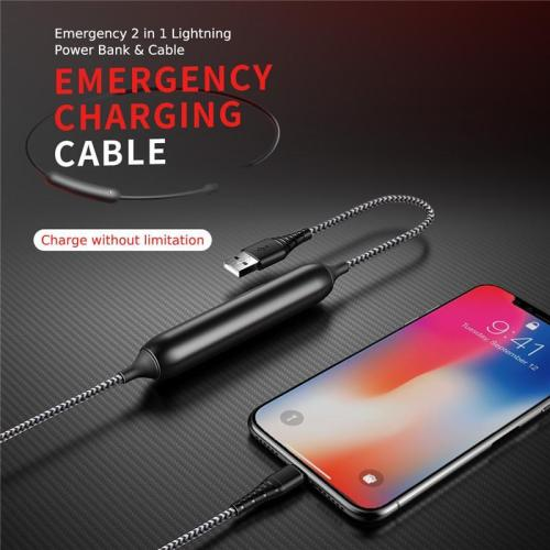 2-in-1 Power Bank&USB Cable for iPhone 700 mAh Portable Emergency External Battery Pack