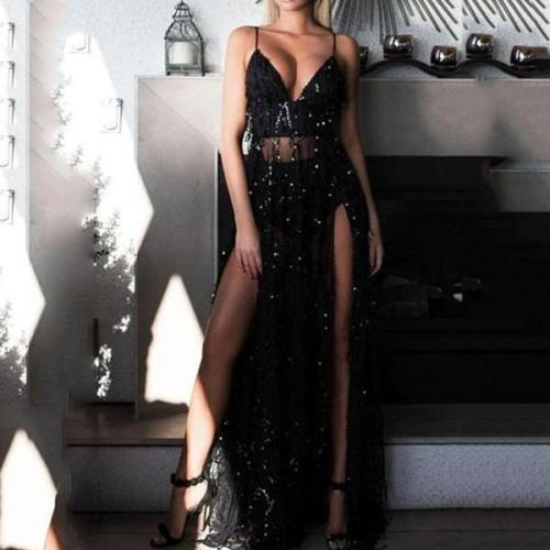 Sexy Halter Black Sling Sequins Mopping Dress Split Evening Dress