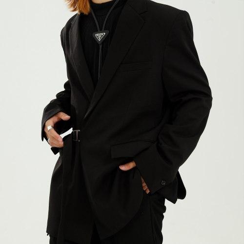 New Male Streetwear Japan Korea Style Suit Jacket Outerwear Men Casual Loose Solid Color Design Fashion Suit Blazers Coat
