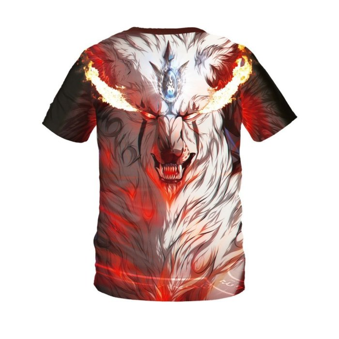 Flame Fox Printed Round Neck Pullover Short Sleeve T-shirt