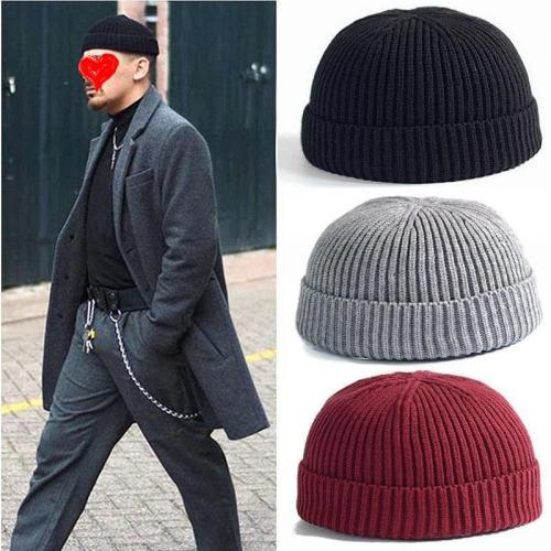Unisex Solid Color Knitted Wool Hat Skull Cap