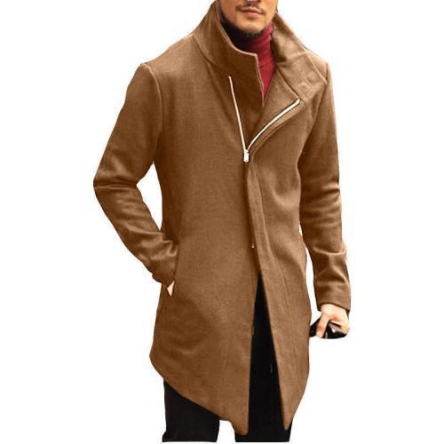 Solid Color Diagonal Zipper Slim Long Coat 4 Colors