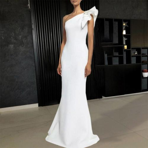 Elegant One-shoulder Ruffle Sleeve Slim Fit Dress