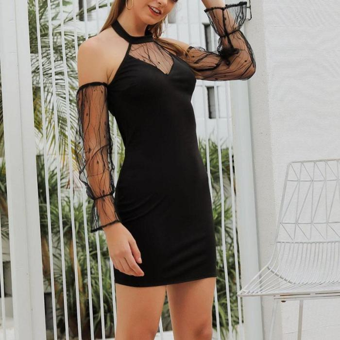 Sexy Halter Lace Off-The-Shoulder Bodycon Dress