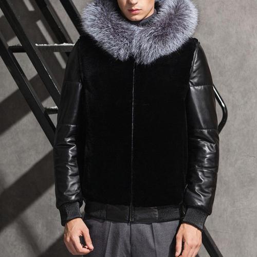 High Imitation Leather Hooded Men's Fur Coat Short