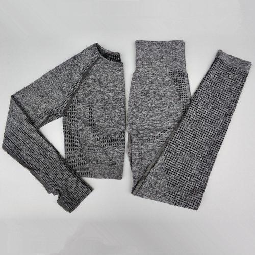 2 Pcs Yoga Set Women Seamless Leggings Fitness Sports Suits Gym Long Sleeve T-shirt High Waist Pants Running Workout Sportswear