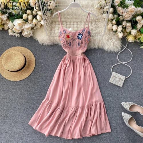 JOYMANMALL Embdroidery Floral Vestidos Beach Style High Waist Sexy Summer Dress Women A-line Sweet V Neck Dresses Retro 15835
