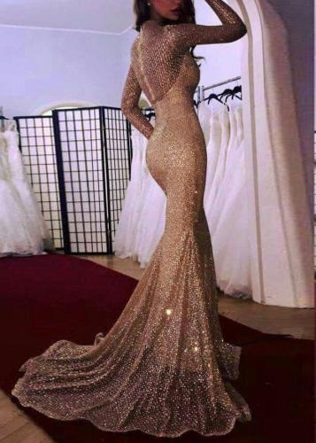 Sexy Perspective Long Sleeve Maxi Dress Evening Dress