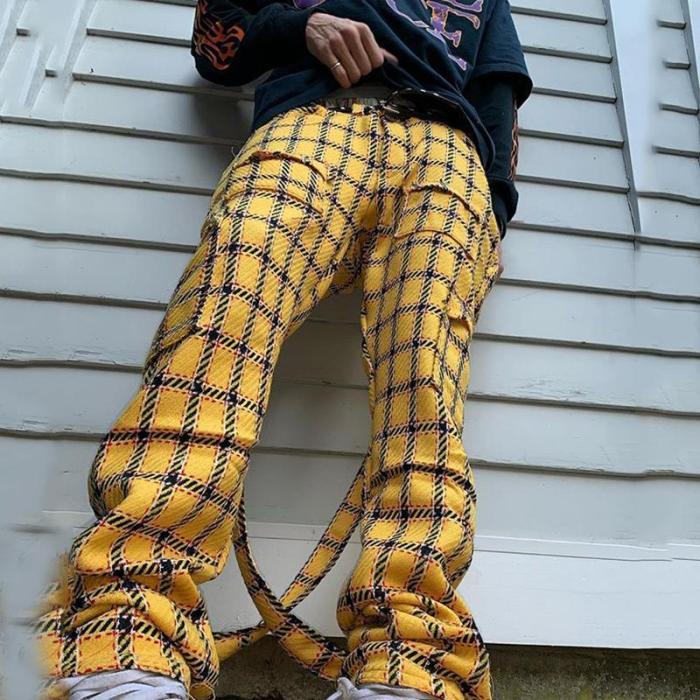 Yellow plaid casual mens pants TT010