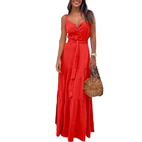 Summer New Style Europe And America WOMEN'S Dress Cool Button V-neck Joint Strapped Dress