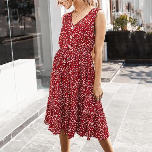 Sexy V Neck Floral Women Dress Summer Sleeveless Ruffles Buttons High Waist Midi Dress Casual Boho Holiday Beach Dresses Female