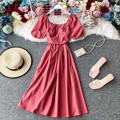 JOYMANMALL Women Summer Fashion Simple Dress French Retro Puff Sleeve Square Collar A-line Casual Elegant Holiday Beach Sundress