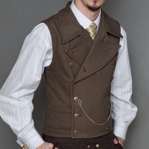 Basic Pure Color Double Breasted Vest