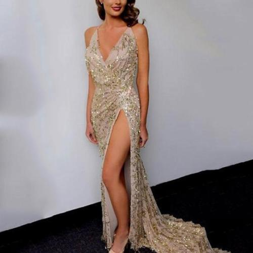 Sexy Halter V-Neck Fishtail Dress Evening Dress
