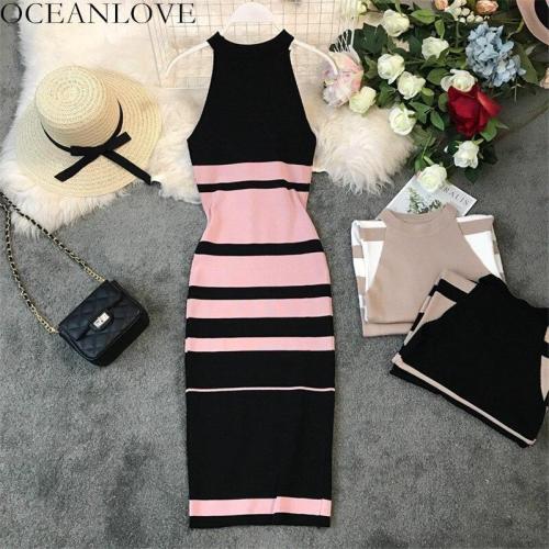 JOYMANMALL Bodycon Dress Knitting Elastic Sexy Dress Summer 2020 Halter Striped Robe Femme Slim Sleeveless Vintage Vestidos 11761