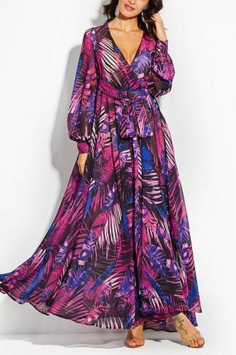 Sexy Floral Print Long Sleeves Maxi Dress Evening Dress