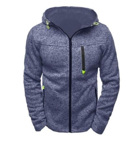 Men's Sports And Leisure Jacquard Sweater Fleece Cardigan Hooded Jacket