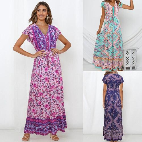 2020 Spring Summer New Rural Boho Style Single-breasted High Waist Lace-up Floral Printed Mid-length Short-sleeved Woman Dress
