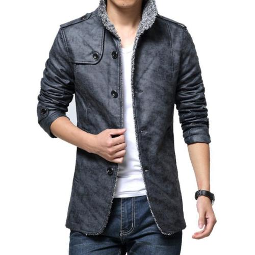 Fashion Lapel Collar Plain Floss Padded PU Coat