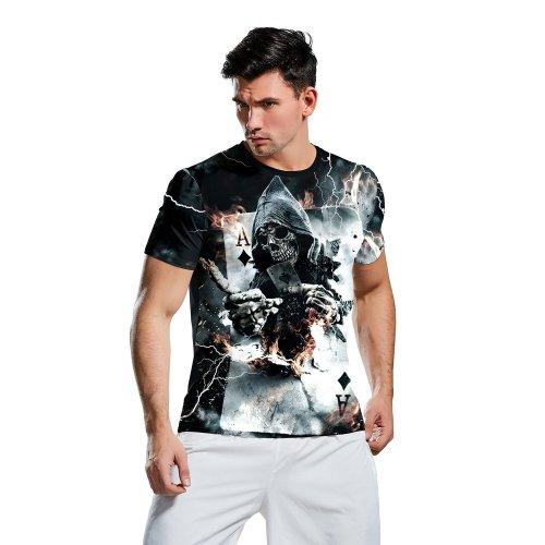 3D Horror Poker Print Short Sleeve Halloween T-shirt