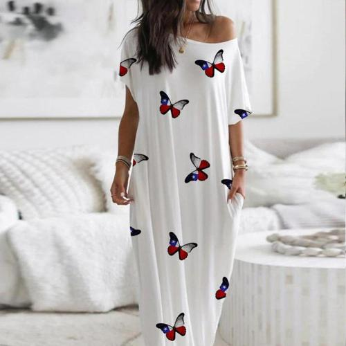 Off Shoulder Butterfly Casual O Neck Loose Party Maxi Dress