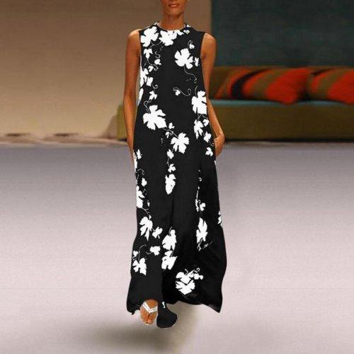 2020 Women's Sleeveless Dress Casual Summer Long Digital Leaf Print Dress Fashion Round Neck Party Cotton Casual Dress