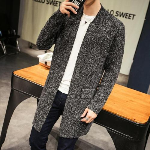 Autumn And Winter Men's Thick Long Sweater Coat