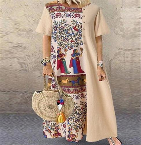 National Style Short Sleeve Long Dress Women's New Dress Cotton Printing Retro Contrast Casual Vacation Dresses