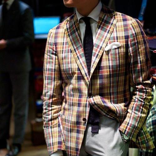 Modern Plaid Men's Pocket Blazer