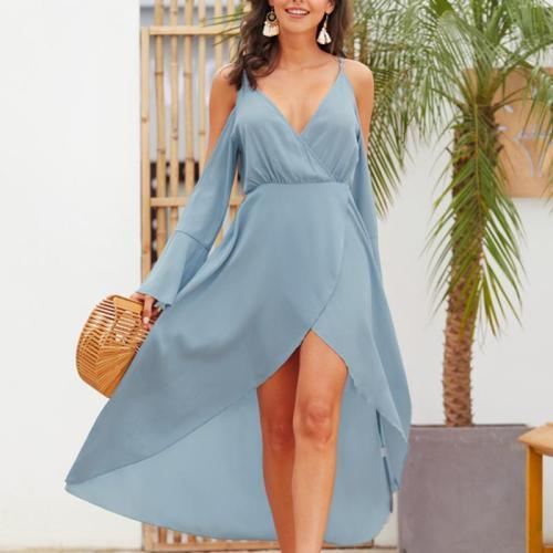Sexy Solid Color Deep V Off Shoulder Flare Sleeve Dress