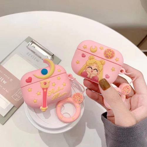Sailor Moon AirPods Pro Charging Headphones Cases With Keychain Doll