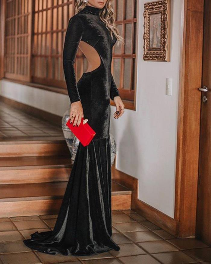 Sexy Slim Long Sleeve Evening Dress