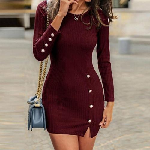 Round Neck Plain Button Knitting Bodycon Dresses