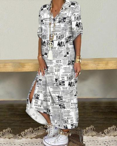 Button Down Long Shirt Dress Summer Letters Print Lapel Neck Party Dress Lady Long Sleeve Maxi Beach Vacation Dresses