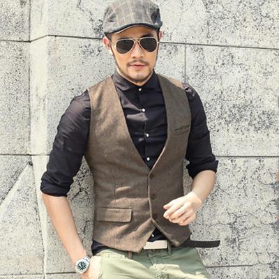Sleeveless Jacket Coat Mens Formal Waistcoats Dress Suit Vest Slim Three Button Woolen Vest British Suit Vest M87